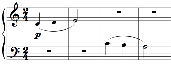 "Memorising music example 1 - four bars from Kabalevsky's ""First Piece"", op.89"