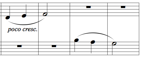 "Memorising music example 2 - four bars from Kabalevsky's ""First Piece"", op.89"