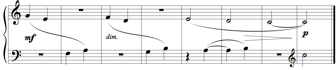 "Memorising music example 3 - eight bars from Kabalevsky's ""First Piece"", op.89"